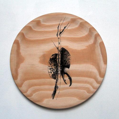 #INSECTA VI#28cm ø # tinta sobre madera