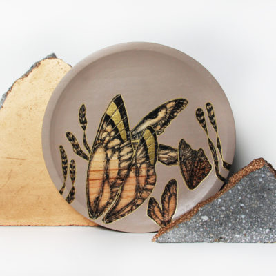 #DRAGONFLY PLATE WARM GREY# #24 CM